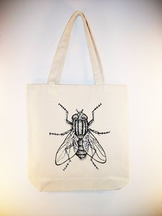 Fabulous Vintage House Fly Illustration transferred onto 15x15 Canvas Tote -- other bag sizes available