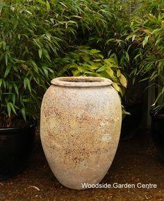Atlantis Large Water Jar Salvage Pot   Woodside Garden Centre   Pots to Inspire Water Garden, Garden Pots, Woodside Garden Centre, Garden Design, House Design, Water Features In The Garden, Olive Tree, Coral Blue, Atlantis