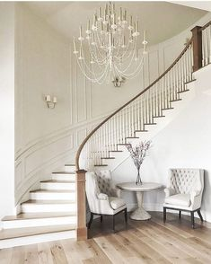 At our first meeting with our darling client we talked about her vision for a curved staircase in the entryway. Love how this turned out! Home Stairs Design, Dream Home Design, Home Interior Design, House Design, Stair Design, Interior Office, Studio Interior, Office Art, Interior Ideas
