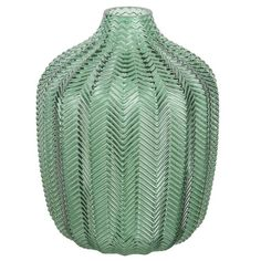 Green Tinted Glass Vase H 18 cm