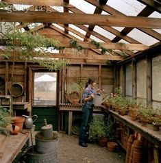 My gardening shed does NOT need to be this big. I like the light coming through the roof and the surround planting counter. Love this one also