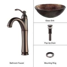KRAUS Vessel Sink in Copper Illusion with Riviera Faucet in Oil Rubbed Bronze-C-GV-580-12mm-1005ORB at The Home Depot