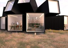 Cluster of shipping containers proposed as an affordable workplace.