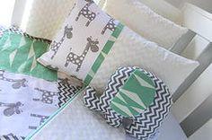 Mint geometric giraffe patch comforter set