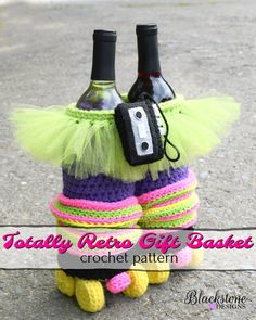 Totally Retro Gift Basket crochet pattern from Blackstone Designs  Can be used as a hostess gift, birthday gift, wine basket, or even a Halloween trick o' treat bag!!