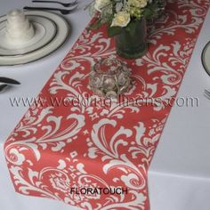 Traditions White Damask on Coral Wedding Table Runner but in blue
