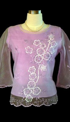 Barongsrus-Lilac Kimona #5285  $42.50  The demure appeal is perfect on this sweet organza blouse. With bell sleeves and embroidered floral design give this top a feminine fit. Dress it up with a skirt or pair it with black dress pants for a style.