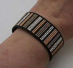 Dramatic Loomed Gold and Silver Bracelet by AdoraDesigns on Zibbet - Silver Jewelry Loom Bracelet Patterns, Bead Loom Bracelets, Bead Loom Patterns, Jewelry Patterns, Beading Patterns, Beading Ideas, Charm Bracelets, Seed Bead Jewelry, Beaded Jewelry
