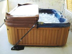 awesome hot tub cover lift with brown color design made from wooden material for inspiration to