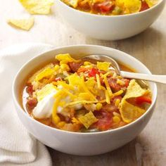 Weeknight Taco Soup Recipe -This soup turned out delicious on the first try, when I was working without a recipe. You could also add cooked ground beef or cubed stew meat dredged in seasoned flour and browned for a heartier meal. —Amanda Swartz, Goderich, Ontario