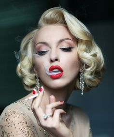 Bold Blonde Red Lips- This bombshell sinks ships. Love the pin-up curls