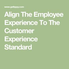 Align The Employee Experience To The Customer Experience Standard