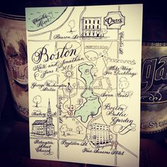 Calligraphy Black and White Wedding Map with colorized highlights on Etsy, $250.00