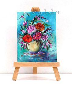 Flower Bouquet in Blue Green Bakground . 3x4 original