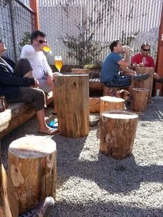 Log tables more places to set down your beer in the Discretion beer garden. Log tables more places t Brewery Decor, Brewery Design, Cafe Design, Bar Pub, Beer Bar, Garden Bar, Garden Table, Log Table, Outdoor Cafe