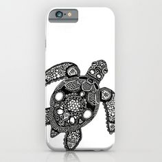 Black and White Zentangle Themed Sea Turtle. Illustration by Janelle Dimmett Ipod Cases, Iphone Case Covers, Cell Phone Cases, Custom Cell Phone Case, Turtle Love, Cell Phone Accessories, Diy, Black And White, Phones