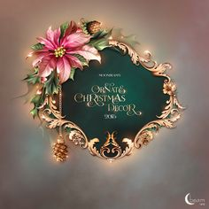 Moonbeam& Ornate Christmas Decor (FS& [Moonbeam& Ornate Christmas Dec] : Scrap and Tubes Store, Digital Scrapbooking Supplies Creative Poster Design, Creative Posters, Flower Frame, Flower Art, Rosas Vector, Victorian Frame, Christmas Cards, Christmas Decorations, Nouvel An