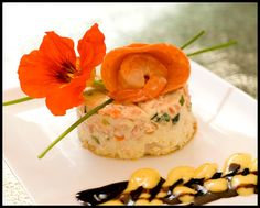 Salmon Mousse! & a lovely edible nasturtium.  Pretty!  :-)