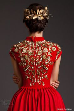krikor jabotian couture spring 2014 akhtamar red mullet dress cap sleeves embroidery back view close up -- Krikor Jabotian Spring 2014 Dresses Couture Details, Fashion Details, Fashion Design, Cap Dress, Dress Up, Mullet Dress, Red Mullet, Krikor Jabotian, Couture Collection