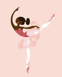 ballerina arabesque giclée print. 8X10. pink/brown. by ThePaperNut