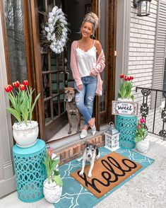 Spring home decor Front porch decor White tulip wreath Hello welcome hat front door teal rug Teal garden stools Owl flower pot Home sweet home sign Sp. Summer Front Porches, Summer Porch Decor, Small Front Porches, Spring Home Decor, Decks And Porches, Farmhouse Front Porches, Front Door Porch, Front Door Decor, Front Porch Plants
