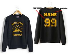 Custom name and number on back Hufflepuff Quidditch team Captain YELLOW front Black Crew neck Sweatshirt by Dreambigzz on Etsy https://www.etsy.com/listing/258079236/custom-name-and-number-on-back