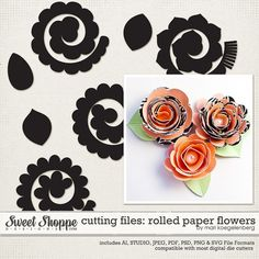 Sweet Shoppe Designs :: Cutting Files :: Cutting Files: Rolled Paper Flowers by Mari Koegelenberg Rolled Paper Flowers, Paper Flowers Diy, Felt Flowers, Handmade Flowers, Fabric Flowers, Flower Svg, Flower Template, Flower Crafts, Silhouette Cameo