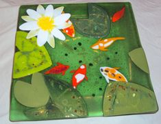 Fused Glass Lily Pond plates by BloomingLilyGlass on Etsy