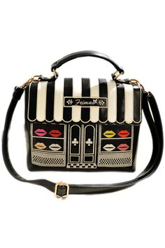 Lips Embroidered Black-white Striped Bag Romwe $47.99