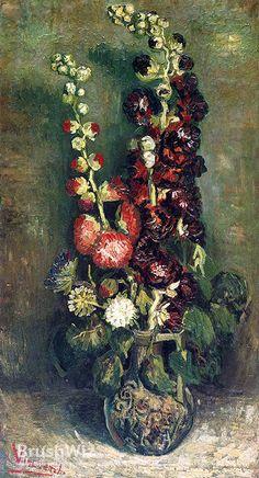 Vase Of Hollyhocks by Vincent Van Gogh - Oil Painting Reproduction - BrushWiz.com