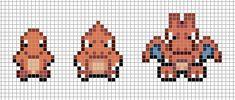 Mini: Charmander, Charmeleon, Charizard by Hama-Girl Pixel Art Templates, Perler Bead Templates, Perler Patterns, Cross Stitching, Cross Stitch Embroidery, Cross Stitch Patterns, Pokemon Sprites, Pokemon Cross Stitch, Pokemon Craft