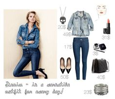 """""""Denim look"""" by stacyco ❤ liked on Polyvore featuring H&M, Zara, DKNY, NARS Cosmetics, Accessorize and MANGO"""