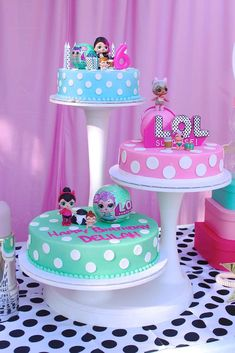 The cakes at this LOL Surprise Doll Birthday Party are gorgeous!! See more party ideas and share yours at CatchMyParty.com #lolsurprisedolls #birthdaycake