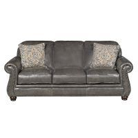 Classic Traditional Charcoal Grey Leather Sofa - London