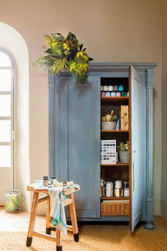 Plascon House Tour: A Charming Family Home Salvaged Furniture, Painted Furniture, Furniture Design, Refuge, Traditional House, Country Decor, Vintage Decor, Chalk Paint, Tall Cabinet Storage