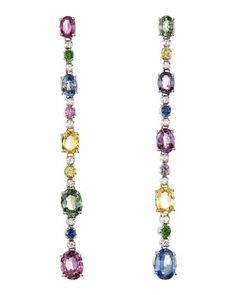Multicolor Sapphire & Diamond Dangle Earrings by Salavetti at Neiman Marcus Last Call.