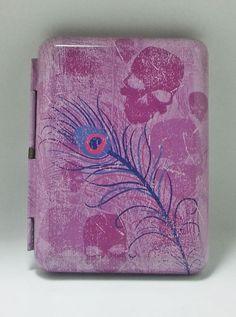 Ninc Purple Skulls & Flower Double Sided Tin Metal King Size Cigarette Case