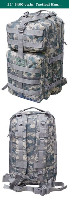 """21"""" 3400 cu.in. Tactical Hunting Camping Hiking Backpack ML121 DM DIGITAL CAMOUFLAGE. PRODUCT DETAILS Capacity: 3400 cu. in. Dimensions & weight: 21""""(Height) x 13""""(Width) x 12.5""""(Depth) 2 lbs 11 oz empty (Approximated weight) Compartments & Pockets: 3 built compartments (main and back compartment can be use as a hydration pouch pocket with hose pass-through on top) 2 front pockets with heavy-duty webbing lines Organizer in front bottom pocket Materials: Polyester with PVC water resistant..."""