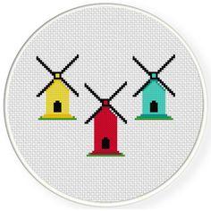 Cross Stitching, Cross Stitch Embroidery, Cross Stitch Patterns, Simple Cross Stitch, Stitch 2, Needlework, Christmas Sock, Diy Crafts, Windmills