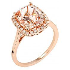 Cushion Cut Morganite Halo Ring in 14Kt Rose Gold