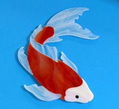 KOI FISH Pre cut Stained Glass Art Mosaic Inlay. Ready for use in your mosaic project.