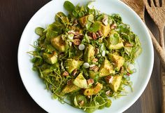 My latest season focuses on Oaxaca. A region severely hit by the latest natural disasters. I can't begin to tell you how magnificent Oaxaca is, and this Avocado, Watercress and Pecan Salad is inspired by some of its flavors.