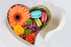 Download wallpaper flowers, box, gift, heart, box, flower, dessert, candy, macaroon, section food in resolution 1916x1280