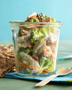 Mason jar recipes are among our favorites for quick, make-ahead meals. These little containers of goodness get their creaminess from a silky blend of low-fat yogurt and light ranch dressing. #lunchrecipes #lunchideas #easylunchideas #bhg Healthy Packed Lunches, Prepped Lunches, Healthy Snacks, Healthy Recipes, Bag Lunches, Work Lunches, School Lunches, Yummy Recipes, Yummy Food