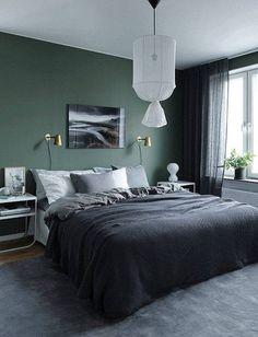 Moody Bedroom Green Walls - the Conspiracy - prekhome Modern Mens Bedroom, Modern Bedroom Decor, Home Bedroom, Bedroom Wall, Master Bedrooms, Grey Bedrooms, Green Rooms, Bedroom Green, Bedroom Colors