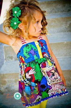 Custom Marvel Comic Ellie Top Dress Twirly Halter Batman Superman $45 Where can I find one in my size?!