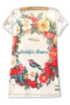 Beautiful Floral Bird Tee - OASAP.com
