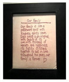 Our family is like a patchwork quilt...
