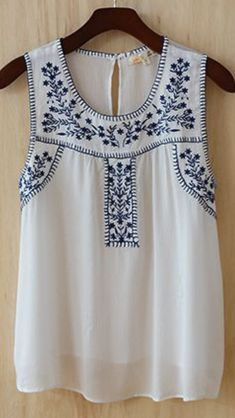 white and blue top
