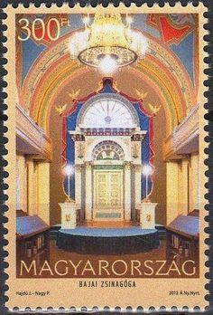 Stamp: Synagouge in Baja (Hungary) (Synagogues in Hungary) Mi:HU 5583,Sn:HU 4254,Yt:HU 4501,WAD:HU043.12 Vatican City, Postage Stamps, Taj Mahal, Greece, Germany, Clock, Europe, Italy, History